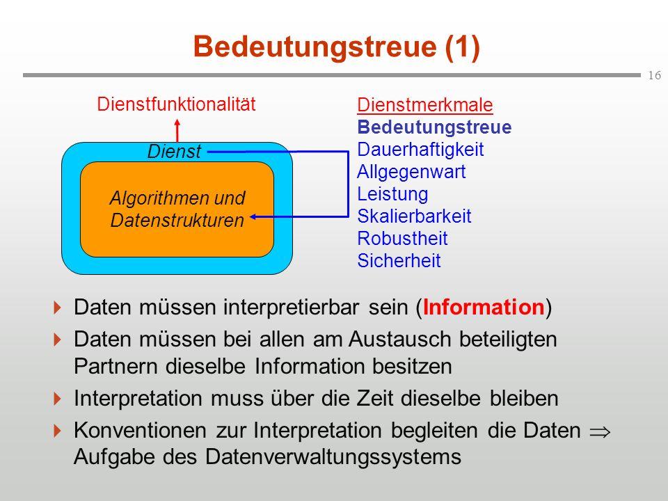 16 Bedeutungstreue (1) Daten müssen interpretierbar sein (Information) Daten müssen bei allen am Austausch beteiligten Partnern dieselbe Information b