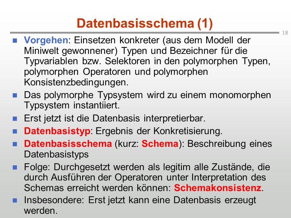 18 Datenbasisschema (1) n Vorgehen: Einsetzen konkreter (aus dem Modell der Miniwelt gewonnener) Typen und Bezeichner für die Typvariablen bzw. Selekt
