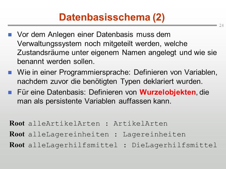 24 Datenbasisschema (2) n Vor dem Anlegen einer Datenbasis muss dem Verwaltungssystem noch mitgeteilt werden, welche Zustandsräume unter eigenem Namen