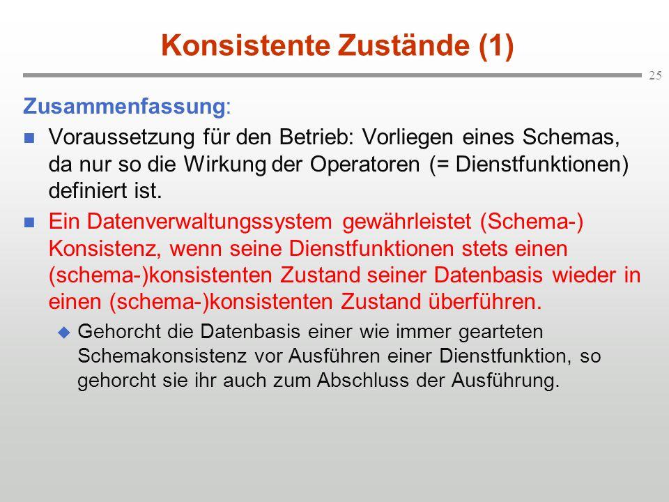 25 Konsistente Zustände (1) Zusammenfassung: n Voraussetzung für den Betrieb: Vorliegen eines Schemas, da nur so die Wirkung der Operatoren (= Dienstf