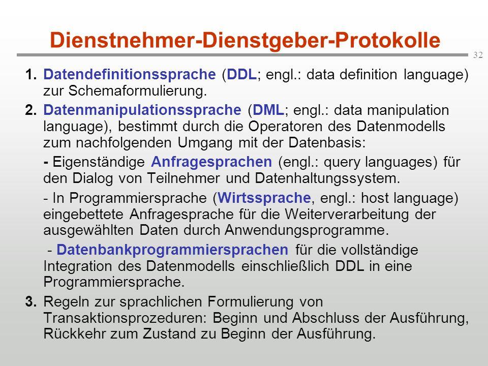 32 Dienstnehmer-Dienstgeber-Protokolle 1.Datendefinitionssprache (DDL; engl.: data definition language) zur Schemaformulierung. 2.Datenmanipulationssp