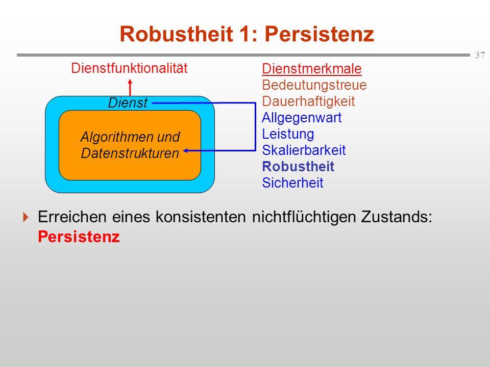 37 Robustheit 1: Persistenz Erreichen eines konsistenten nichtflüchtigen Zustands: Persistenz Algorithmen und Datenstrukturen Dienst Dienstmerkmale Be