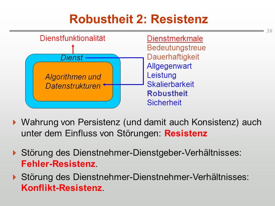39 Robustheit 2: Resistenz Wahrung von Persistenz (und damit auch Konsistenz) auch unter dem Einfluss von Störungen: Resistenz Störung des Dienstnehme