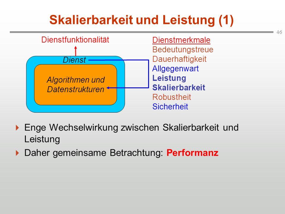 46 Skalierbarkeit und Leistung (1) Enge Wechselwirkung zwischen Skalierbarkeit und Leistung Daher gemeinsame Betrachtung: Performanz Algorithmen und D