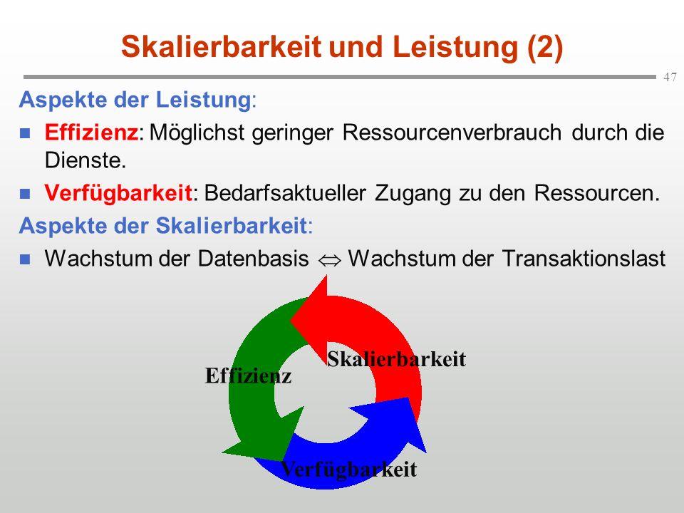 47 Skalierbarkeit und Leistung (2) Aspekte der Leistung: n Effizienz: Möglichst geringer Ressourcenverbrauch durch die Dienste. n Verfügbarkeit: Bedar