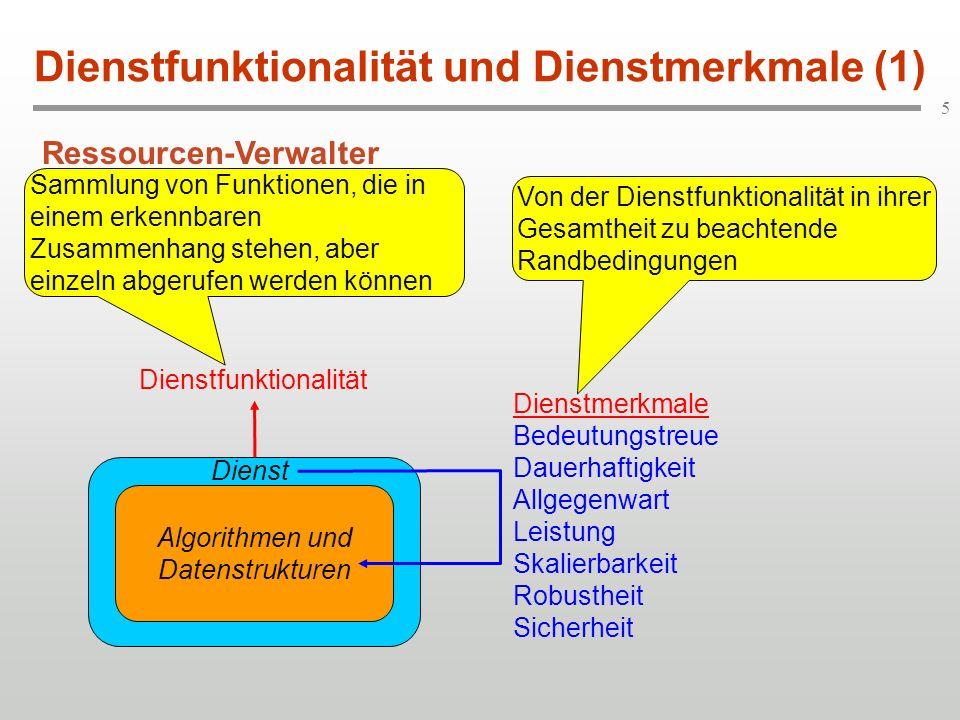 5 Dienstfunktionalität und Dienstmerkmale (1) Algorithmen und Datenstrukturen Dienst Dienstmerkmale Bedeutungstreue Dauerhaftigkeit Allgegenwart Leist