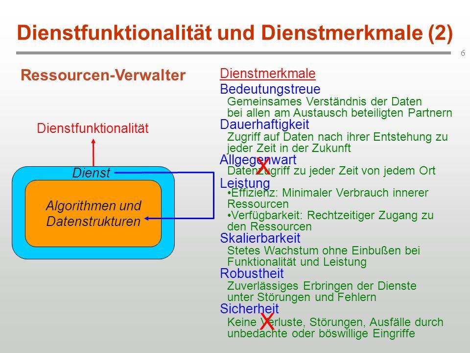 6 Dienstfunktionalität und Dienstmerkmale (2) Algorithmen und Datenstrukturen Dienst Dienstmerkmale Bedeutungstreue Dauerhaftigkeit Allgegenwart Leist