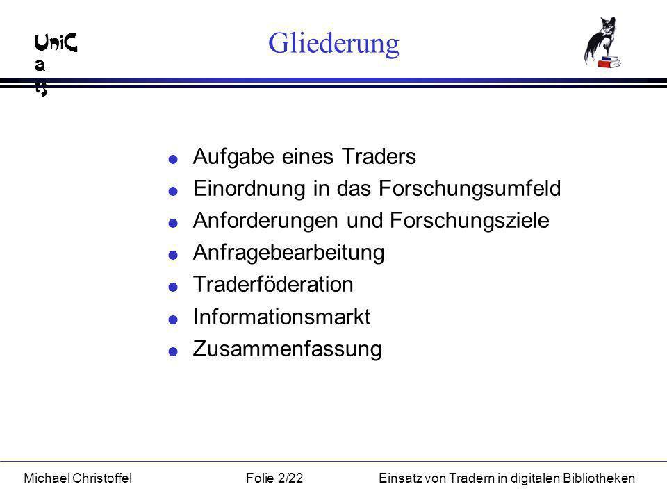 UniC a ts Michael ChristoffelFolie 3/22Einsatz von Tradern in digitalen Bibliotheken Aufgabe eines Traders KundenAnbieterTrader Informationsmarkt