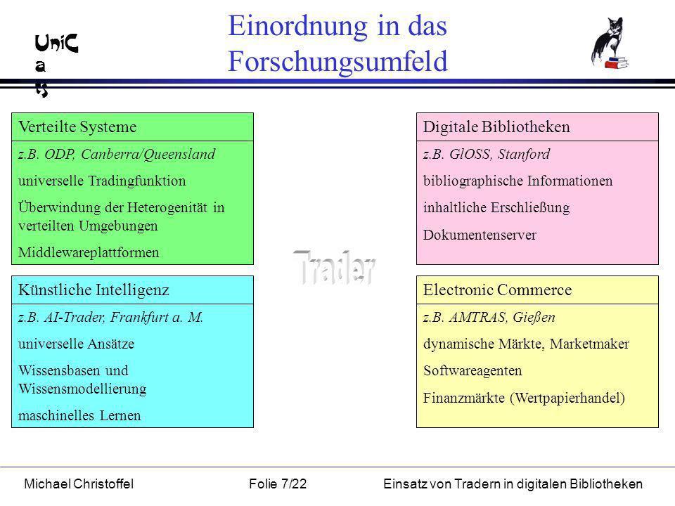 UniC a ts Michael ChristoffelFolie 7/22Einsatz von Tradern in digitalen Bibliotheken Einordnung in das Forschungsumfeld Verteilte Systeme Künstliche IntelligenzElectronic Commerce Digitale Bibliotheken z.B.