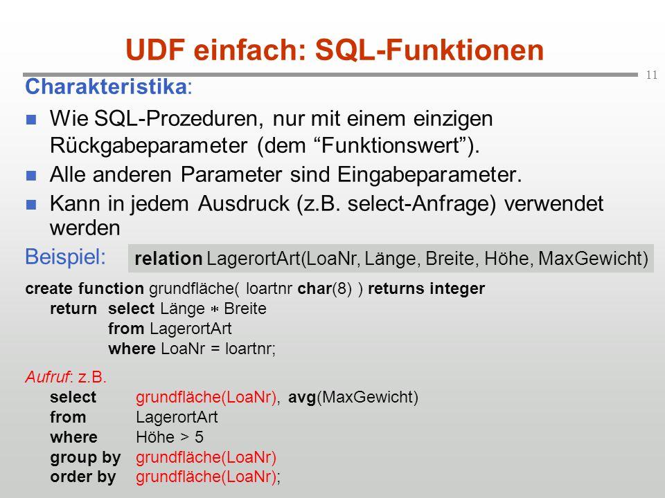 11 UDF einfach: SQL-Funktionen Charakteristika: Wie SQL-Prozeduren, nur mit einem einzigen Rückgabeparameter (dem Funktionswert).