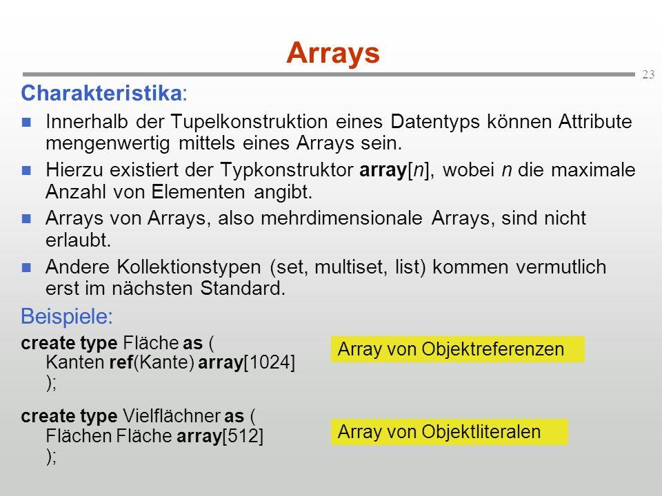 23 Arrays Charakteristika: Innerhalb der Tupelkonstruktion eines Datentyps können Attribute mengenwertig mittels eines Arrays sein.