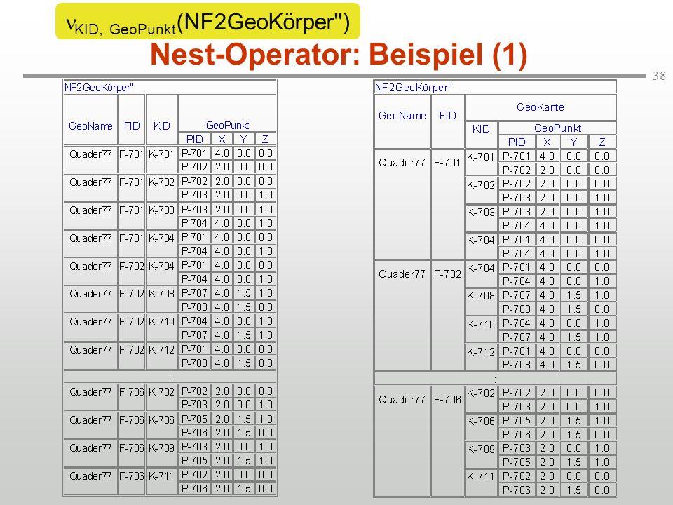 38 Nest-Operator: Beispiel (1) KID, GeoPunkt (NF2GeoKörper )