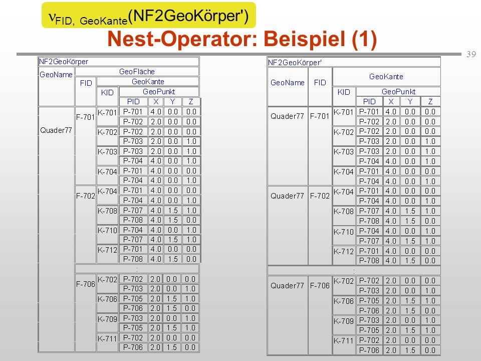 39 Nest-Operator: Beispiel (1) FID, GeoKante (NF2GeoKörper )