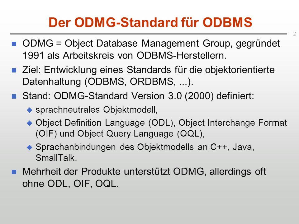 2 Der ODMG-Standard für ODBMS ODMG = Object Database Management Group, gegründet 1991 als Arbeitskreis von ODBMS-Herstellern.