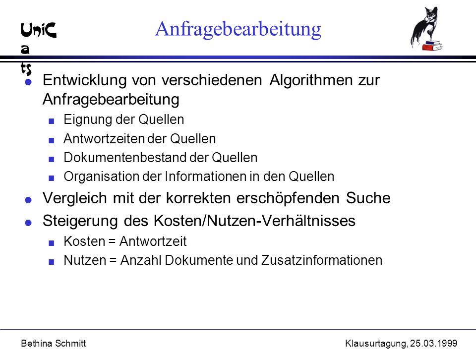 UniC a ts Bethina SchmittKlausurtagung, 25.03.1999 Anfragebearbeitung l Entwicklung von verschiedenen Algorithmen zur Anfragebearbeitung n Eignung der