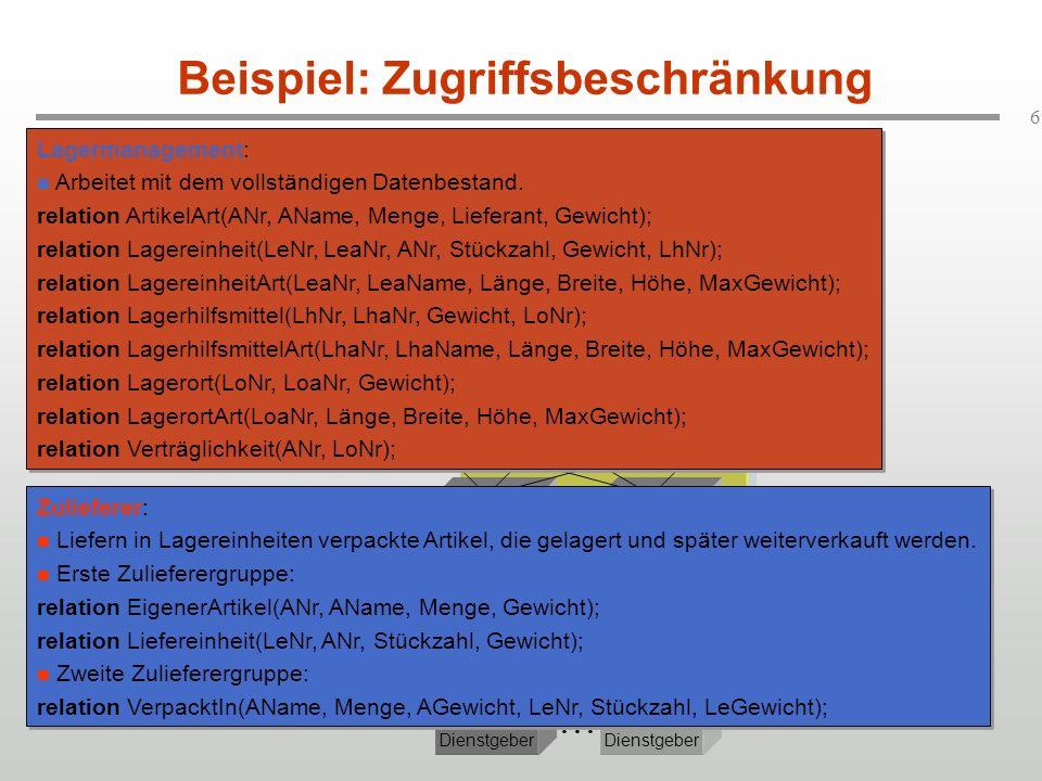 7 Problemstellungen (3) Anwendungs -Dienstgeber...