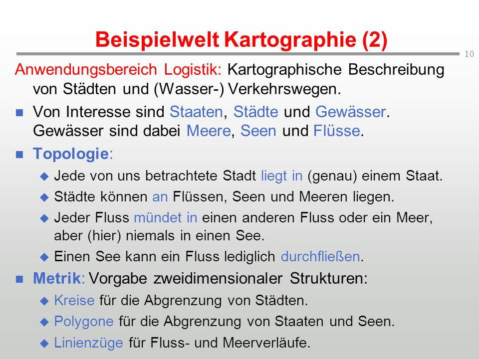 10 Beispielwelt Kartographie (2) Anwendungsbereich Logistik: Kartographische Beschreibung von Städten und (Wasser-) Verkehrswegen. Von Interesse sind