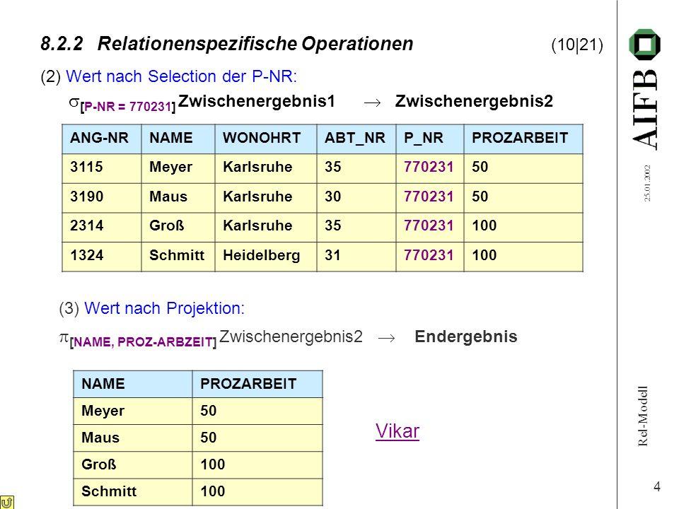 Rel-Modell 25.01.2002 4 8.2.2Relationenspezifische Operationen (10|21) (2) Wert nach Selection der P-NR: [P-NR = 770231] Zwischenergebnis1 Zwischenerg