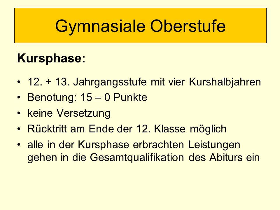 Gymnasiale Oberstufe Kursphase: 12. + 13.