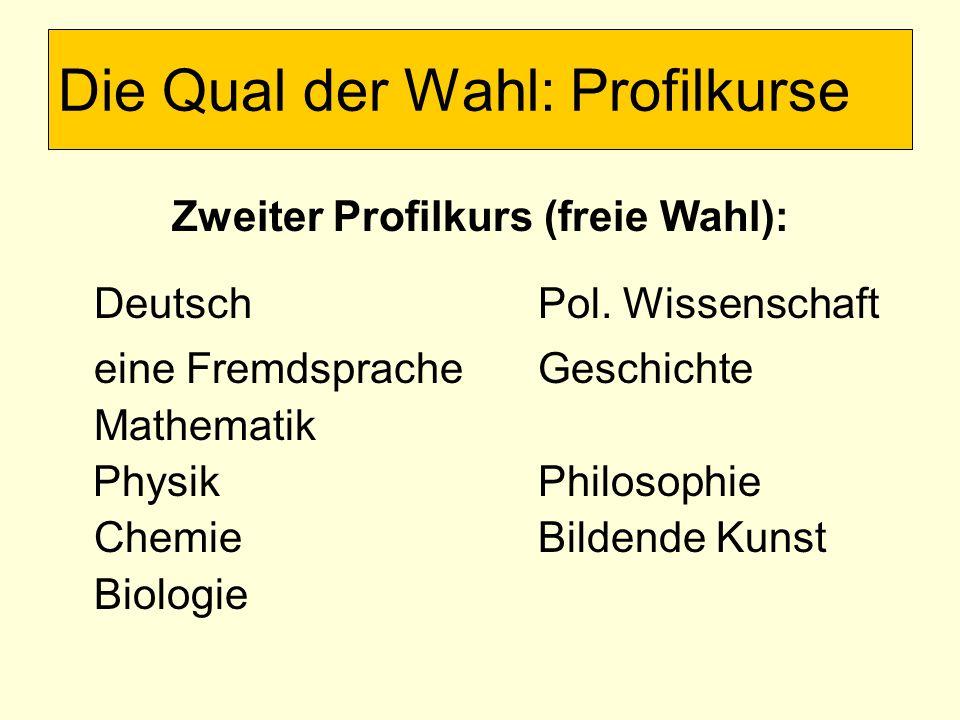 Zweiter Profilkurs (freie Wahl): DeutschPol.