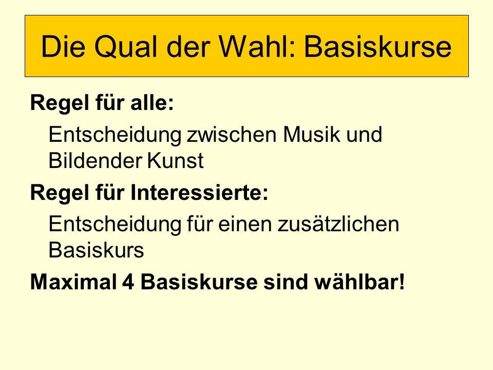 Regel für alle: Entscheidung zwischen Musik und Bildender Kunst Regel für Interessierte: Entscheidung für einen zusätzlichen Basiskurs Maximal 4 Basiskurse sind wählbar.