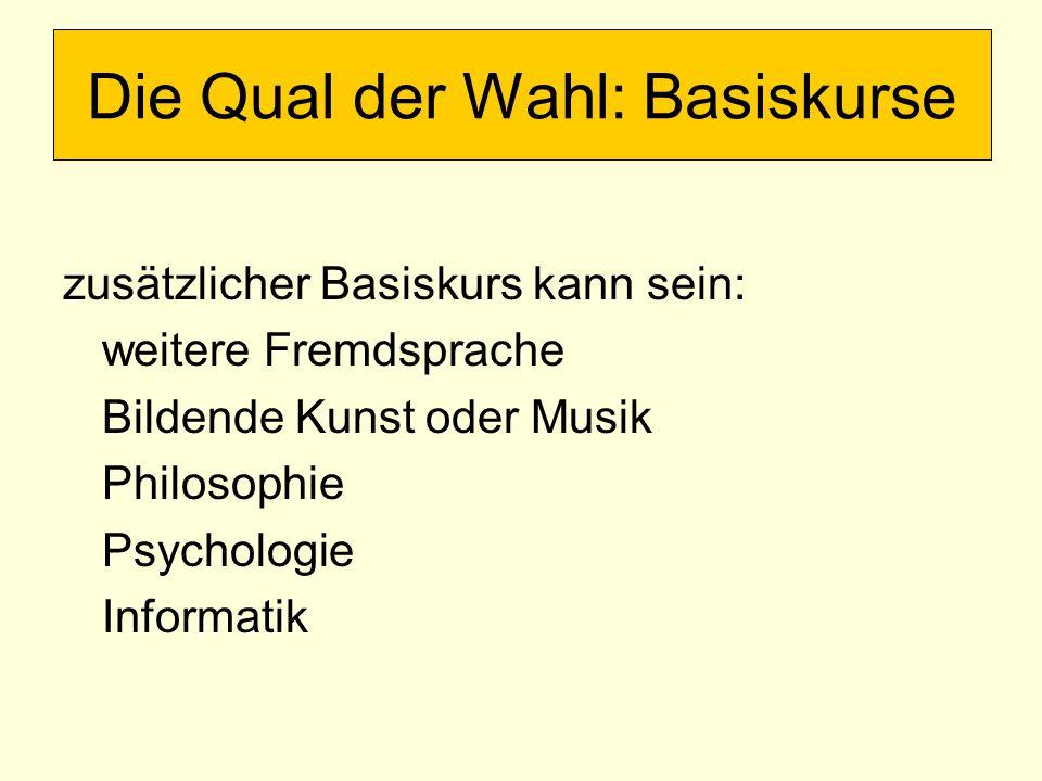 zusätzlicher Basiskurs kann sein: weitere Fremdsprache Bildende Kunst oder Musik Philosophie Psychologie Informatik Die Qual der Wahl: Basiskurse