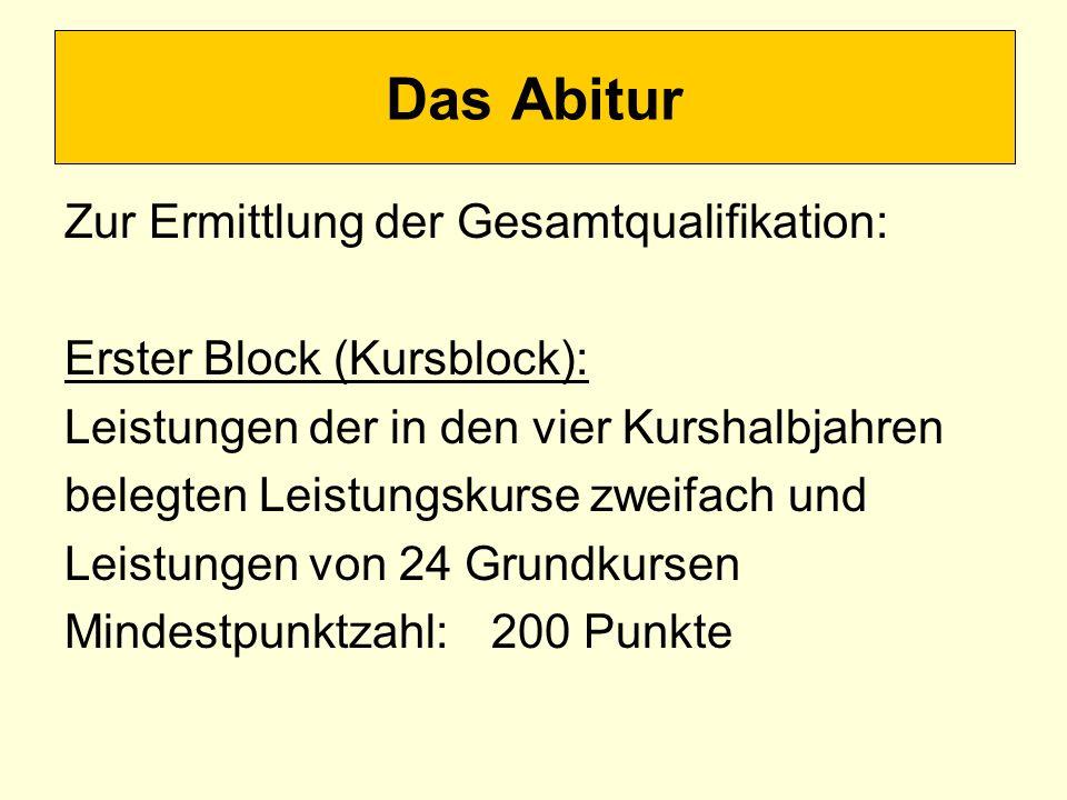 Das Abitur Zur Ermittlung der Gesamtqualifikation: Erster Block (Kursblock): Leistungen der in den vier Kurshalbjahren belegten Leistungskurse zweifach und Leistungen von 24 Grundkursen Mindestpunktzahl:200 Punkte