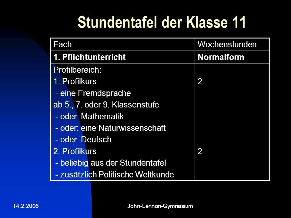 14.2.2006John-Lennon-Gymnasium Stundentafel der Klasse 11 FachWochenstunden 1. PflichtunterrichtNormalform Profilbereich: 1. Profilkurs - eine Fremdsp