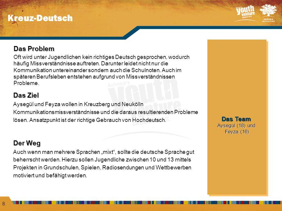 Kreuz-Deutsch 8 Das Problem Oft wird unter Jugendlichen kein richtiges Deutsch gesprochen, wodurch häufig Missverständnisse auftreten. Darunter leidet