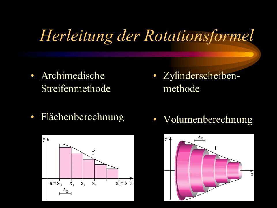 Herleitung der Rotationsformel Archimedische Streifenmethode Flächenberechnung Zylinderscheiben- methode Volumenberechnung