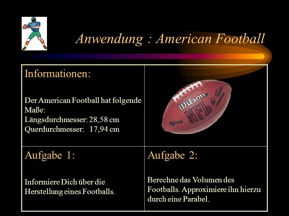 Anwendung : American Football Informationen: Der American Football hat folgende Maße: Längsdurchmesser: 28,58 cm Querdurchmesser: 17,94 cm Aufgabe 1: Informiere Dich über die Herstellung eines Footballs.