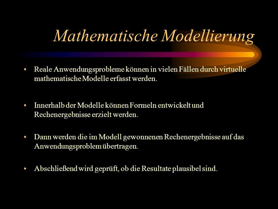 Mathematische Modellierung Reale Anwendungsprobleme können in vielen Fällen durch virtuelle mathematische Modelle erfasst werden.