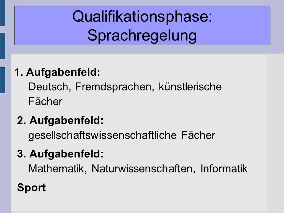 Gymnasiale Oberstufe 1. Aufgabenfeld: Deutsch, Fremdsprachen, künstlerische Fächer 2. Aufgabenfeld: gesellschaftswissenschaftliche Fächer 3. Aufgabenf