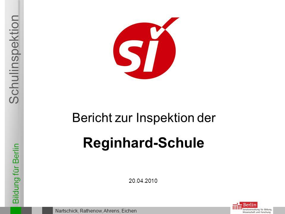 Bildung für Berlin Schulinspektion Bericht zur Inspektion der 20.04.2010 Nartschick, Rathenow, Ahrens, Eichen Reginhard-Schule