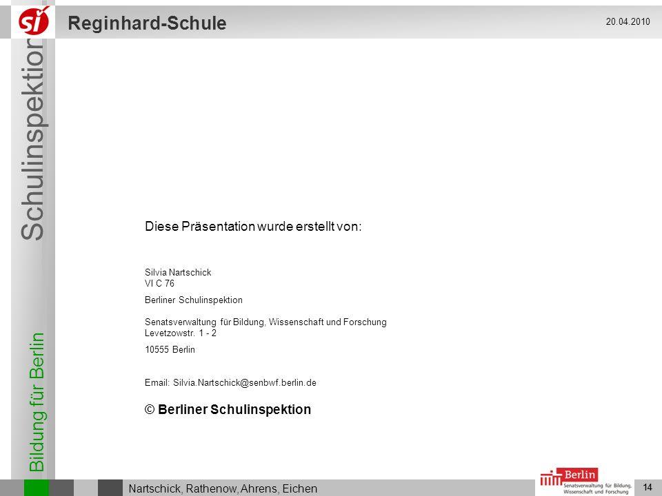 Bildung für Berlin Schulinspektion Reginhard-Schule 14 Nartschick, Rathenow, Ahrens, Eichen 20.04.2010 14 © Berliner Schulinspektion Diese Präsentatio
