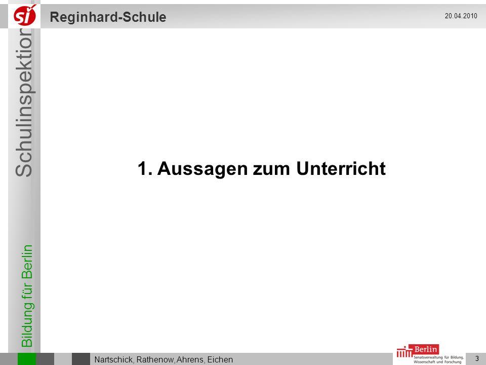 Bildung für Berlin Schulinspektion Reginhard-Schule 3 Nartschick, Rathenow, Ahrens, Eichen 20.04.2010 3 1. Aussagen zum Unterricht