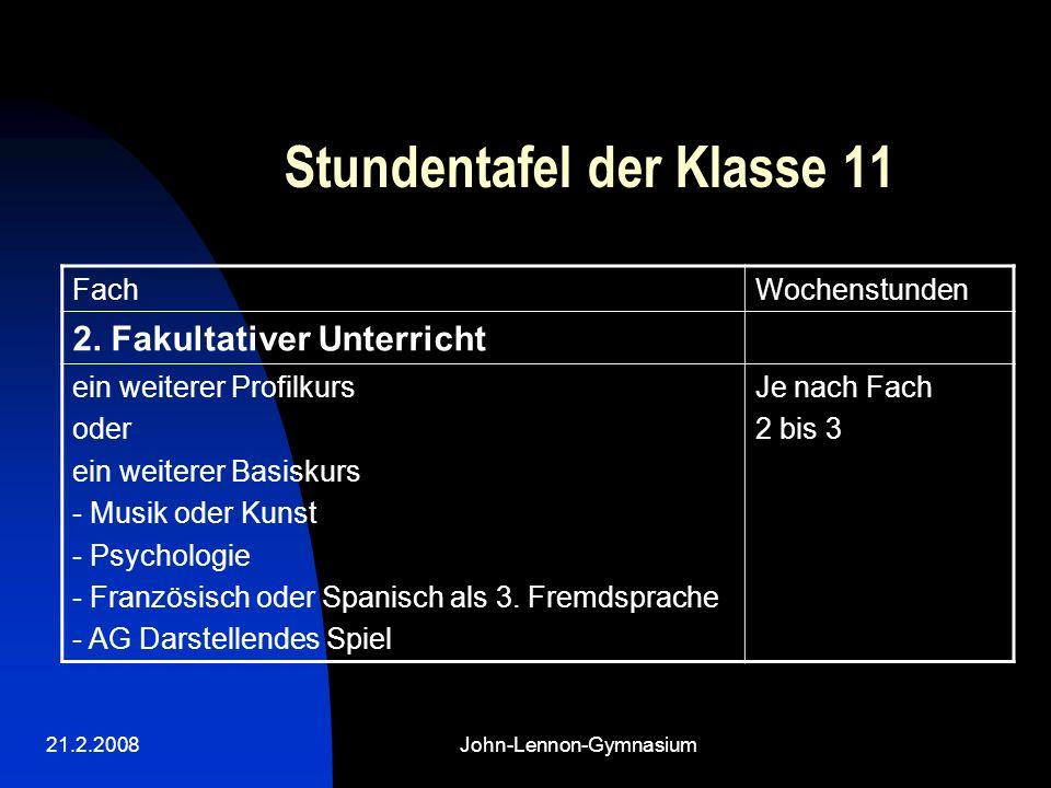 21.2.2008John-Lennon-Gymnasium Stundentafel der Klasse 11 FachWochenstunden 2.