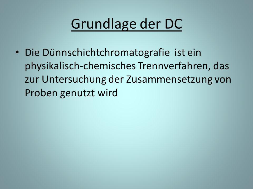 Grundlage der DC Die Dünnschichtchromatografie ist ein physikalisch-chemisches Trennverfahren, das zur Untersuchung der Zusammensetzung von Proben genutzt wird