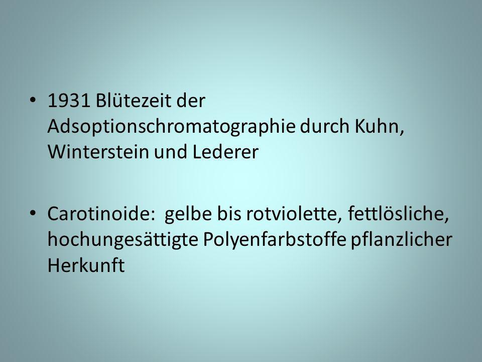 1931 Blütezeit der Adsoptionschromatographie durch Kuhn, Winterstein und Lederer Carotinoide: gelbe bis rotviolette, fettlösliche, hochungesättigte Polyenfarbstoffe pflanzlicher Herkunft