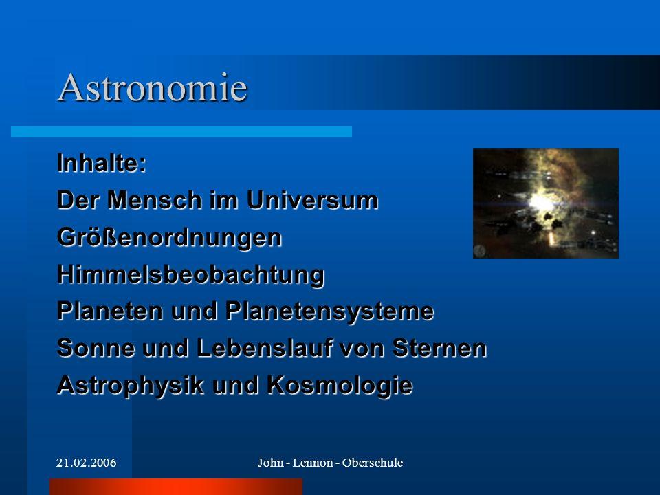 21.02.2006John - Lennon - Oberschule Astronomie Inhalte: Der Mensch im Universum GrößenordnungenHimmelsbeobachtung Planeten und Planetensysteme Sonne