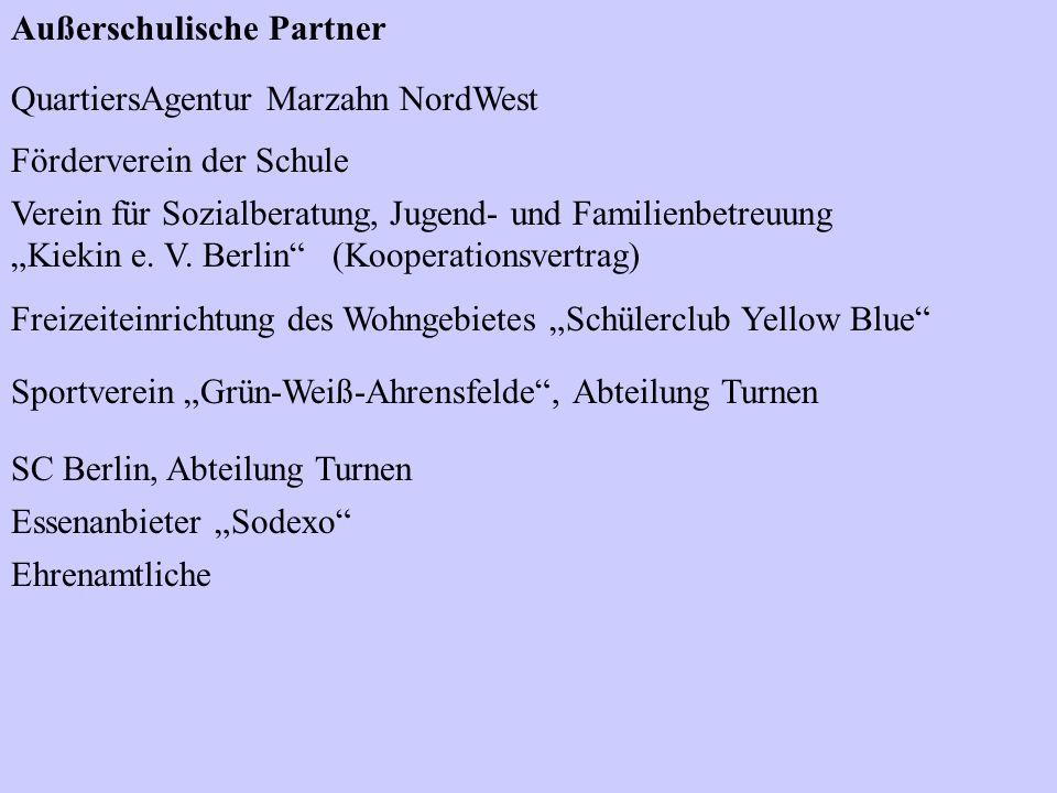 Außerschulische Partner QuartiersAgentur Marzahn NordWest Förderverein der Schule Verein für Sozialberatung, Jugend- und Familienbetreuung Kiekin e. V