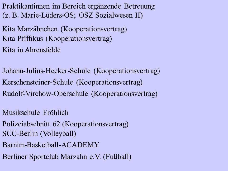 Praktikantinnen im Bereich ergänzende Betreuung (z. B. Marie-Lüders-OS; OSZ Sozialwesen II) Kita Marzähnchen (Kooperationsvertrag) Kita Pfiffikus (Koo