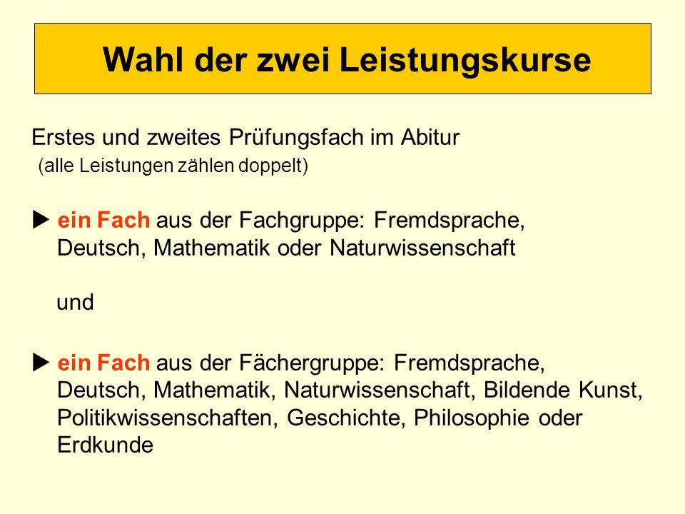 Wahl der zwei Leistungskurse Erstes und zweites Prüfungsfach im Abitur (alle Leistungen zählen doppelt) ein Fach aus der Fachgruppe: Fremdsprache, Deu