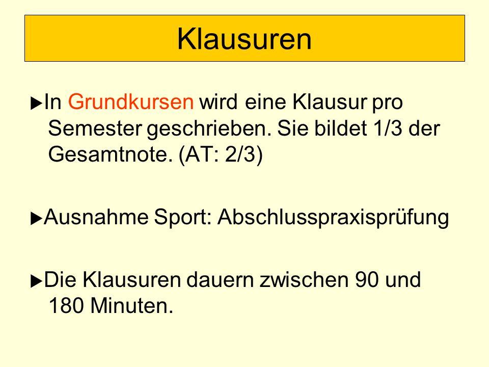 Klausuren In Grundkursen wird eine Klausur pro Semester geschrieben. Sie bildet 1/3 der Gesamtnote. (AT: 2/3) Ausnahme Sport: Abschlusspraxisprüfung D