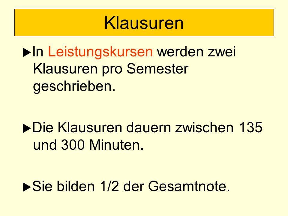 In Leistungskursen werden zwei Klausuren pro Semester geschrieben. Die Klausuren dauern zwischen 135 und 300 Minuten. Sie bilden 1/2 der Gesamtnote. K
