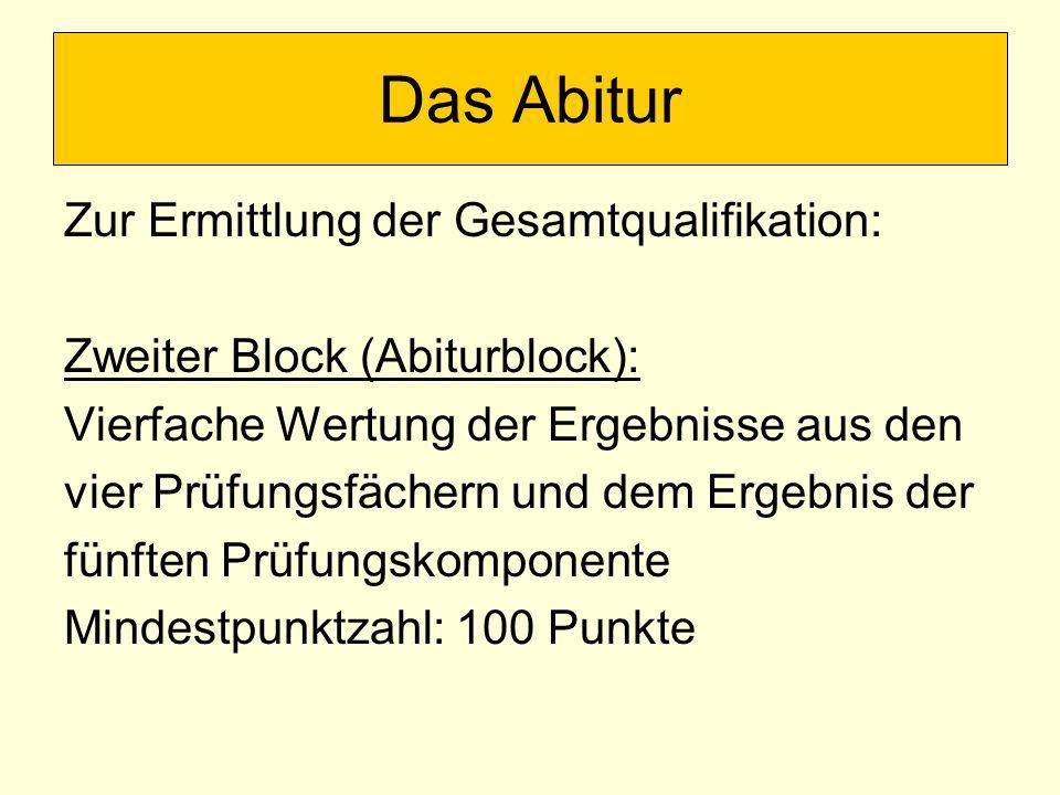 Zur Ermittlung der Gesamtqualifikation: Zweiter Block (Abiturblock): Vierfache Wertung der Ergebnisse aus den vier Prüfungsfächern und dem Ergebnis de