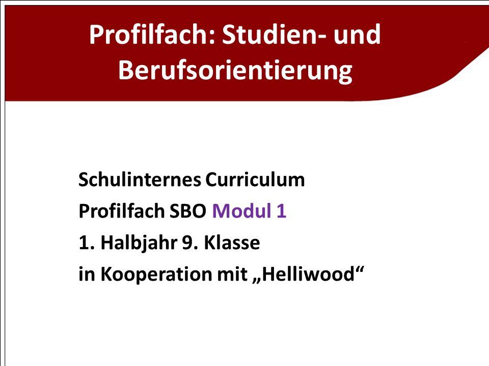 Profilfach: Studien- und Berufsorientierung Schulinternes Curriculum Profilfach SBO Modul 1 1. Halbjahr 9. Klasse in Kooperation mit Helliwood