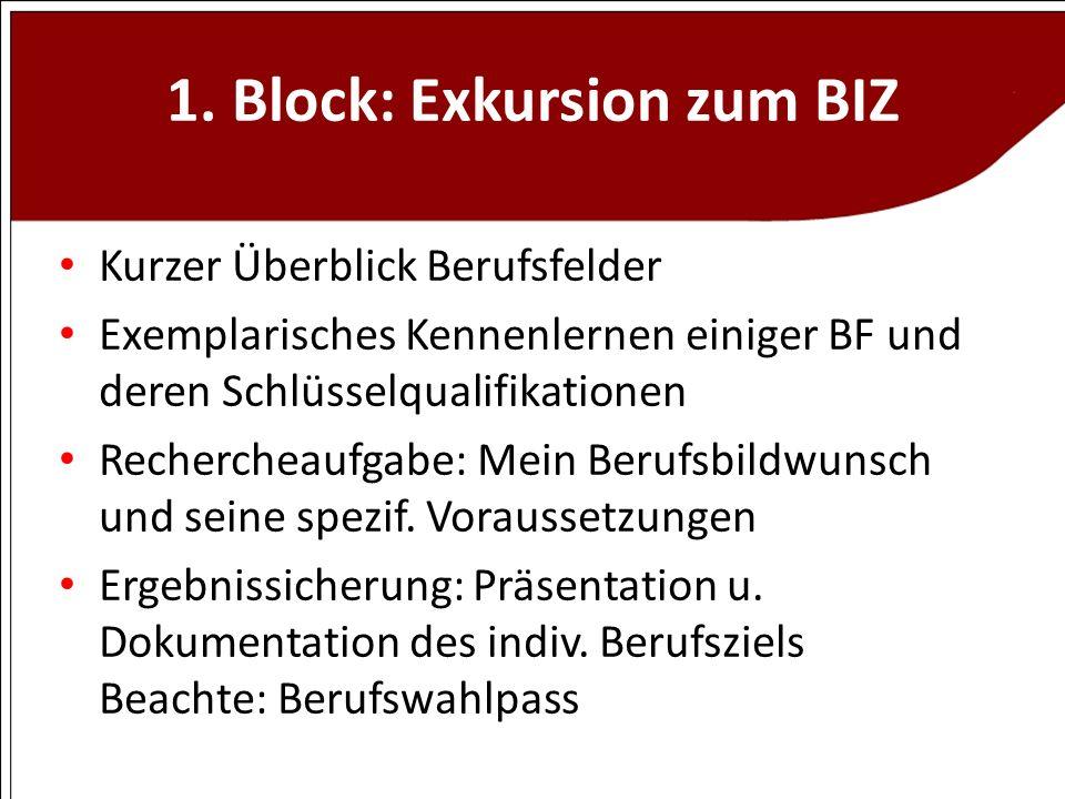 1. Block: Exkursion zum BIZ Kurzer Überblick Berufsfelder Exemplarisches Kennenlernen einiger BF und deren Schlüsselqualifikationen Rechercheaufgabe: