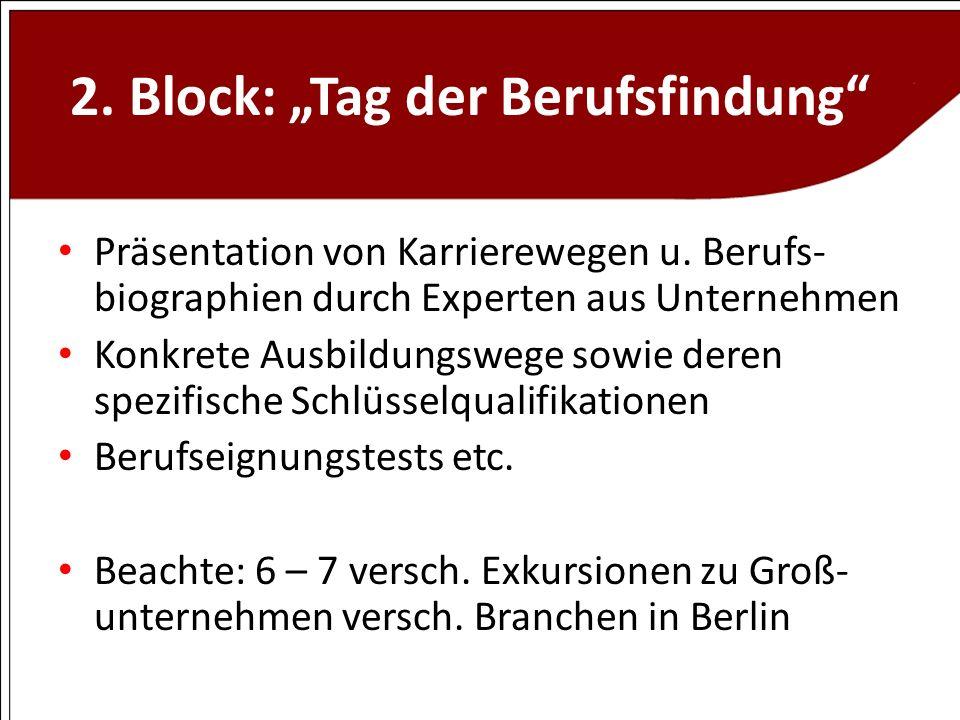 2. Block: Tag der Berufsfindung Präsentation von Karrierewegen u. Berufs- biographien durch Experten aus Unternehmen Konkrete Ausbildungswege sowie de