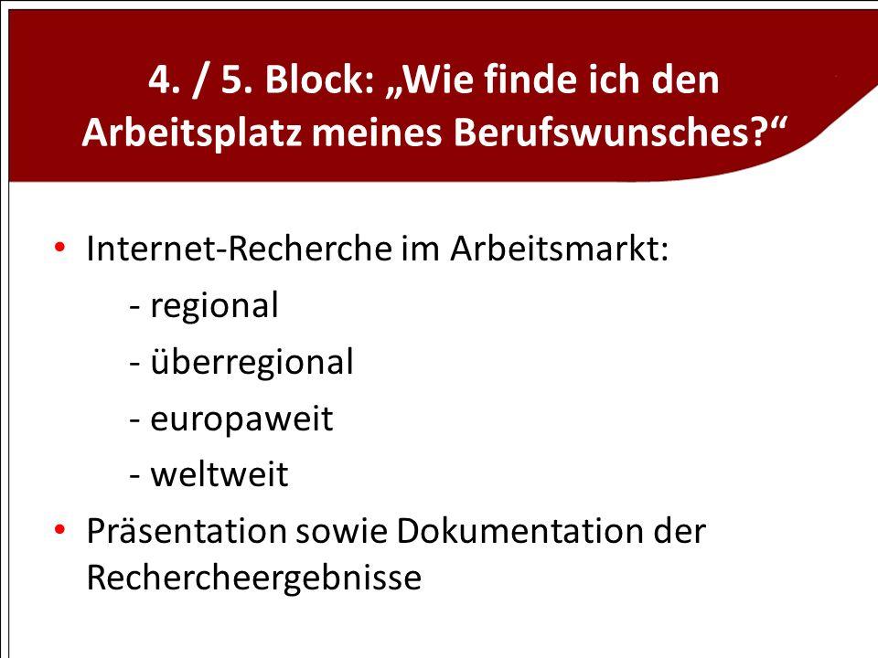4. / 5. Block: Wie finde ich den Arbeitsplatz meines Berufswunsches? Internet-Recherche im Arbeitsmarkt: - regional - überregional - europaweit - welt